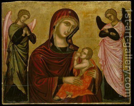 Icon of the Virgin Lactans with Two Angels by Anonymous Artist - Reproduction Oil Painting