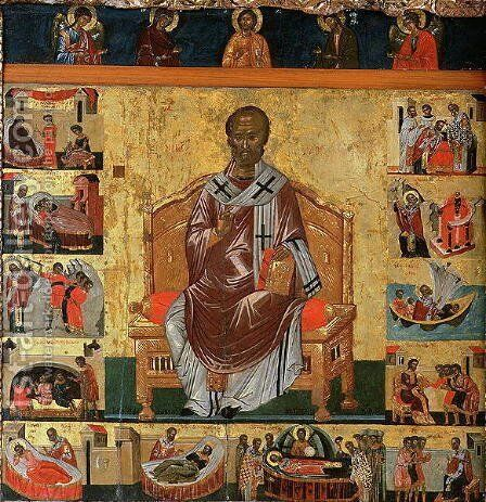 St. Nicolas and scenes of his life by Anonymous Artist - Reproduction Oil Painting