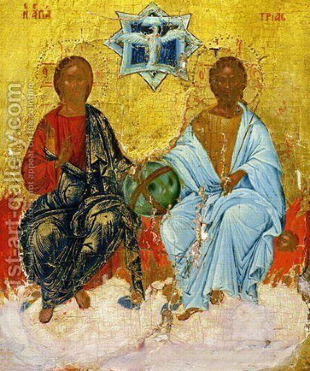 Icon of the Holy Trinity by Anonymous Artist - Reproduction Oil Painting