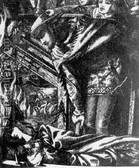 The Lady of Shalott (from the Moxon Tennyson) by Dante Gabriel Rossetti - Reproduction Oil Painting