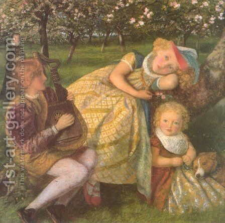 The King's Orchard (study) by Arthur Hughes - Reproduction Oil Painting