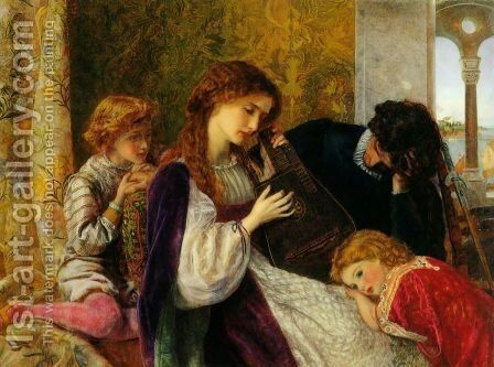 A Music Party by Arthur Hughes - Reproduction Oil Painting