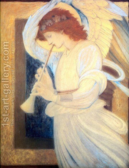 An Angel Playing a Flageolet by Sir Edward Coley Burne-Jones - Reproduction Oil Painting