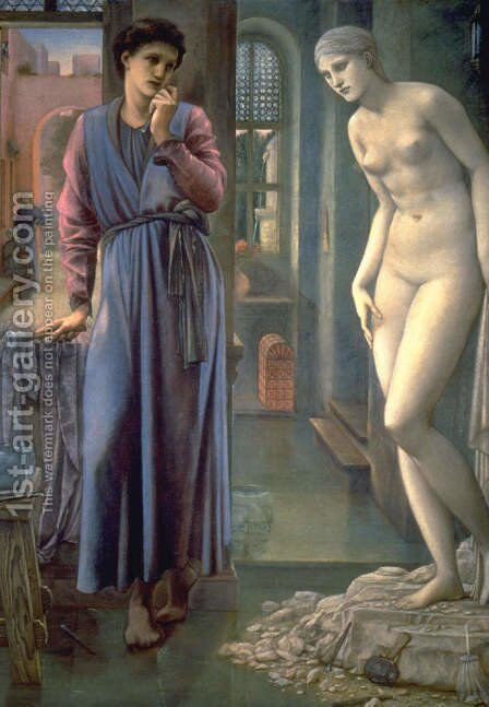 Pygmalion and the Image II: The Hand Refrains by Sir Edward Coley Burne-Jones - Reproduction Oil Painting