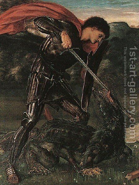Saint George and the Dragon by Sir Edward Coley Burne-Jones - Reproduction Oil Painting
