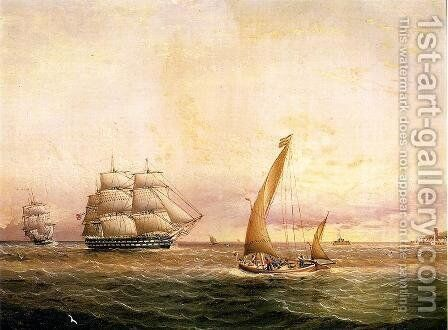 Two American Naval Vessels Entering Harbor by James E. Buttersworth - Reproduction Oil Painting