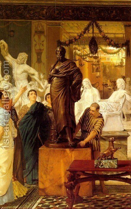A Sculpture Gallery in Rome at the Time of Agrippa by Sir Lawrence Alma-Tadema - Reproduction Oil Painting