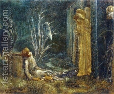 The Dream of Launcelot at the Chapel of the San Graal by Sir Edward Coley Burne-Jones - Reproduction Oil Painting