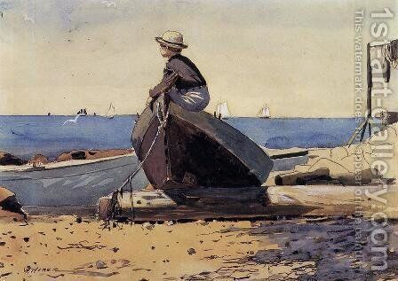 Waiting for Dad by Winslow Homer - Reproduction Oil Painting