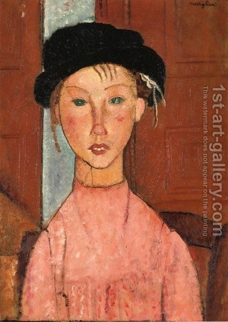 Young Girl in Beret by Amedeo Modigliani - Reproduction Oil Painting