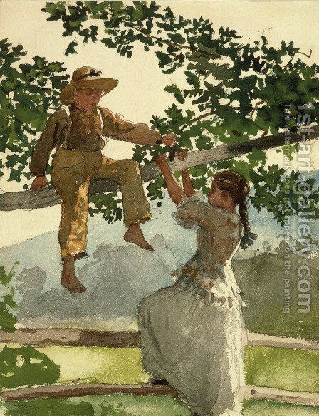 On the Fence by Winslow Homer - Reproduction Oil Painting