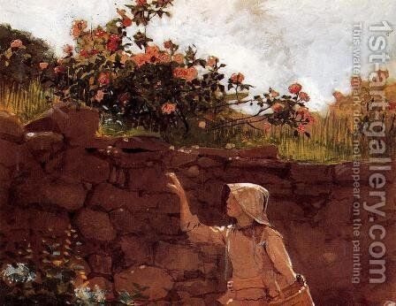 Girl in a Garden by Winslow Homer - Reproduction Oil Painting