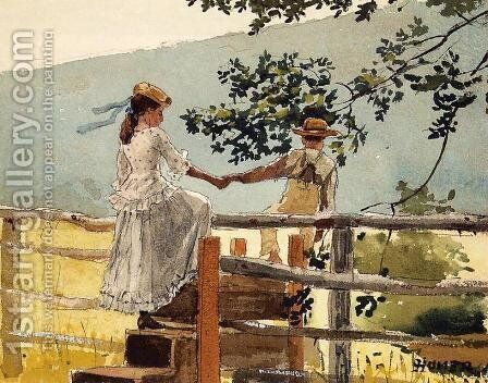 On the Stile by Winslow Homer - Reproduction Oil Painting