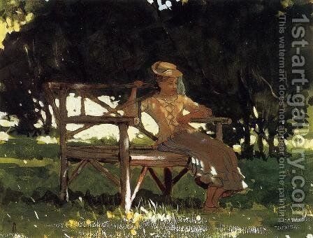Woman on a Bench by Winslow Homer - Reproduction Oil Painting