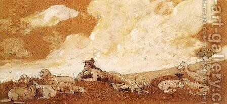 Girl and Sheep by Winslow Homer - Reproduction Oil Painting