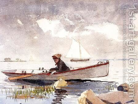 A Girl in a Punt by Winslow Homer - Reproduction Oil Painting