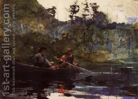 Canoeing in the Adirondacks by Winslow Homer - Reproduction Oil Painting
