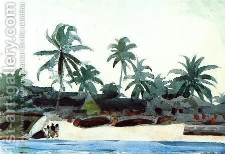Negro Cabins and Palms by Winslow Homer - Reproduction Oil Painting