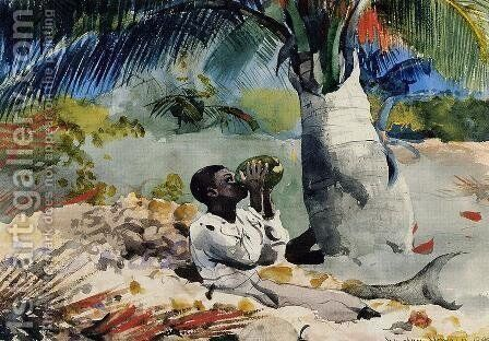 Under the Coco Palm by Winslow Homer - Reproduction Oil Painting