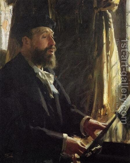 A Portrait of Jean-Baptiste Faure by Anders Zorn - Reproduction Oil Painting