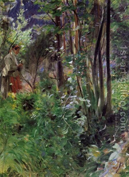 A Woman in a Forest by Anders Zorn - Reproduction Oil Painting