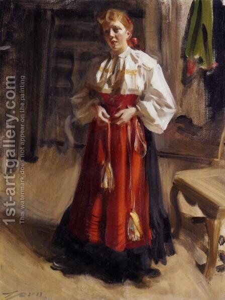 Girl in an Orsa Costume by Anders Zorn - Reproduction Oil Painting