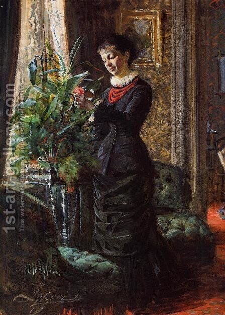 Portrait of Fru Lisen Samson, nee Hirsch, Arranging Flowers at a Window by Anders Zorn - Reproduction Oil Painting