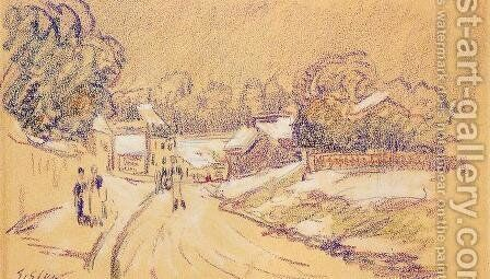 Early Snow at Louveciennes I by Alfred Sisley - Reproduction Oil Painting