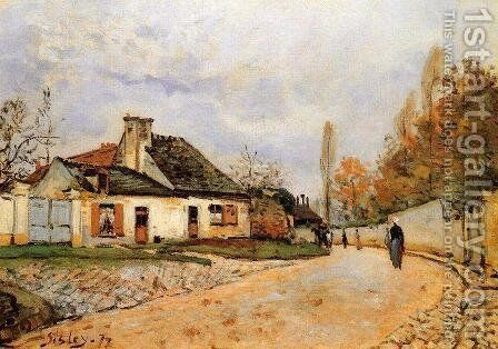 Neighborhood Street in Louveciennes by Alfred Sisley - Reproduction Oil Painting