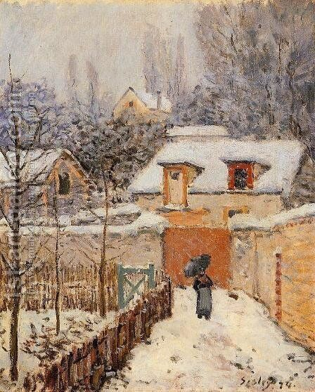 Snow at Louveciennes I by Alfred Sisley - Reproduction Oil Painting