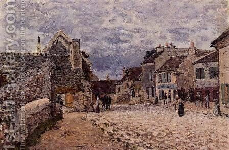 Village Street - Grey Weather by Alfred Sisley - Reproduction Oil Painting