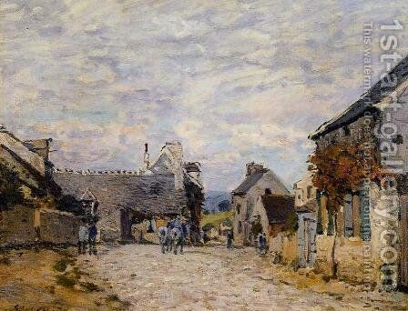 Village Street - Louveciennes by Alfred Sisley - Reproduction Oil Painting
