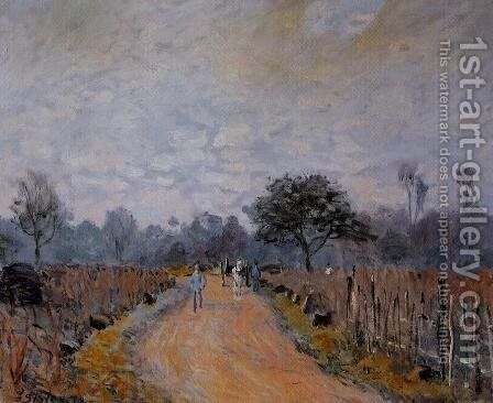 The Road from Prunay to Bougival by Alfred Sisley - Reproduction Oil Painting