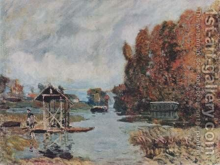 Laundry Houses at Bougival by Alfred Sisley - Reproduction Oil Painting