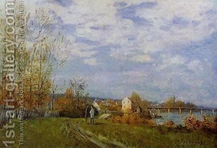 Banks of the Seine at Bougival by Alfred Sisley - Reproduction Oil Painting