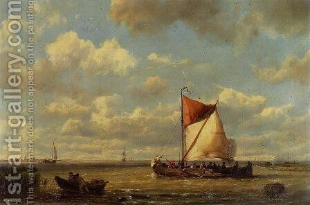 Shipping in a Calm on the Zuyder Zee by Hermanus Jr. Koekkoek - Reproduction Oil Painting