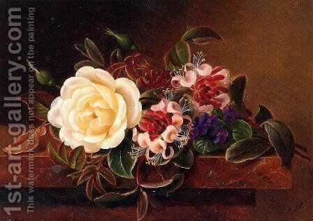 Still Life with a Rose and Violets on a Marble Ledge by Johan Laurentz Jensen - Reproduction Oil Painting