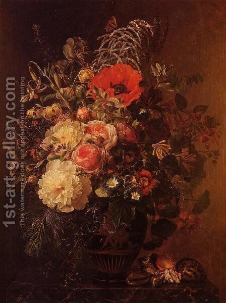 Still Life with Flowers in a Greek Vase by Johan Laurentz Jensen - Reproduction Oil Painting