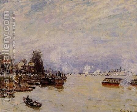 The Seine, View from the Quay de Pont du Jour by Alfred Sisley - Reproduction Oil Painting