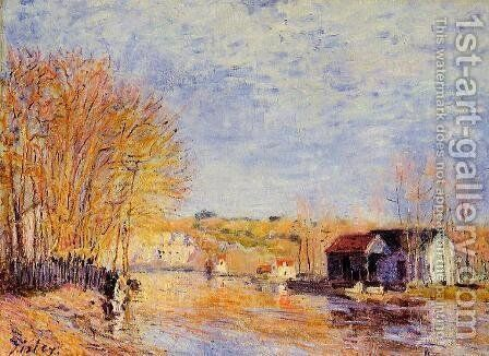 High Waters at Moret-sur-Loing by Alfred Sisley - Reproduction Oil Painting