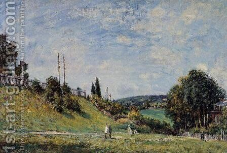 Railroad Embankment at Sevres by Alfred Sisley - Reproduction Oil Painting