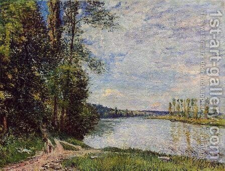 The Path from Veneux to Thomery along the Water, Evening by Alfred Sisley - Reproduction Oil Painting
