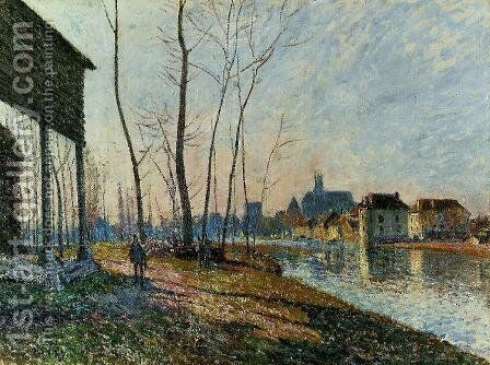 A February Morning at Moret-sur-Loing by Alfred Sisley - Reproduction Oil Painting