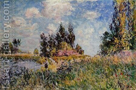 Landscape - The Banks of the Loing at Saint-Mammes by Alfred Sisley - Reproduction Oil Painting