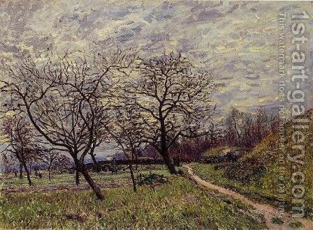 Between Veneux and By - December Morning by Alfred Sisley - Reproduction Oil Painting