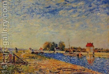 The Loing Canal I by Alfred Sisley - Reproduction Oil Painting