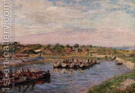 Idle Barges on the Loing Canal at Saint-Mammes by Alfred Sisley - Reproduction Oil Painting