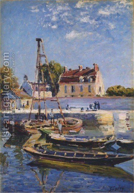 Small Boats by Alfred Sisley - Reproduction Oil Painting
