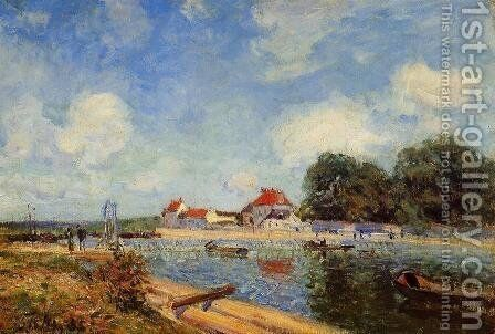 Loing Dam at Saint-Mammes by Alfred Sisley - Reproduction Oil Painting