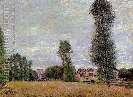 The Village of Moret, Seen from the Fields by Alfred Sisley - Reproduction Oil Painting